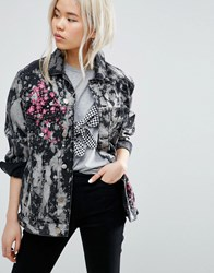 Asos Girlfriend Jacket In Bleach Splatter Wash And Blossom Embroidery Washed Black