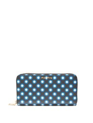 Miu Miu Polka Dot Leather Continental Wallet Black Multi