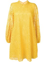 Giamba Flared Lace Dress Yellow
