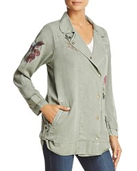 Billy T Embroidered Moto Jacket Army