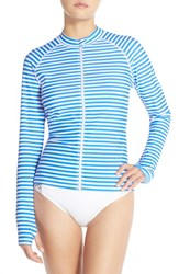 Women's Mott 50 Long Sleeve Rashguard Royal White Stripe