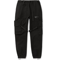 Off White Tapered Logo Print Cotton Canvas Cargo Trousers Black