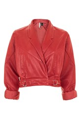 Topshop Cropped Leather Jacket Red
