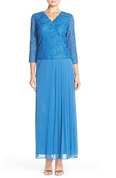 Petite Women's Alex Evenings Lace And Chiffon Gown