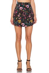 Lucca Couture Floral Mini Skirt Black