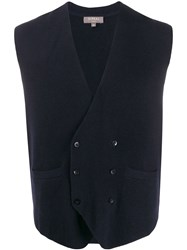 N.Peal Double Breasted Knitted Waistcoat Blue