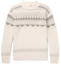 Ralph Lauren Purple Label Fair Isle Cashmere And Wool Blend Sweater Cream