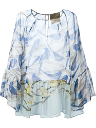 Erika Cavallini Semi Couture Ruffled Printed Blouse Blue