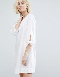 Native Youth Minimal A Line Dress With Tie Sleeve Details White