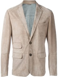 Eleventy Suede Blazer Nude And Neutrals