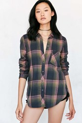 Bdg Polly Flannel Button Down Shirt Pink