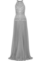 J Mendel Embellished Pleated Silk Chiffon Gown Gray