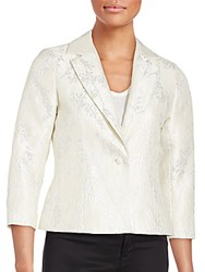 Rickie Freeman For Teri Jon Floral Patterned Jacket Ivory