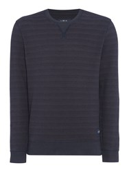 Criminal Men's Aspen Crew Stripe Sweater Navy