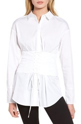 Trouve Women's Corset Stretch Poplin Shirt White