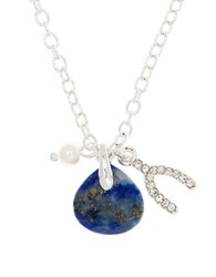 Lonna And Lilly 4Mm Faux Pearl Semi Precious Reconstituted September Birthstone Charm Necklace Blue