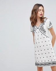 Deby Debo Billy Embroidered Shift Dress Off White