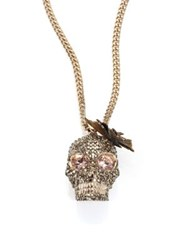 Alexander Mcqueen Butterfly Skull Crystal Pendant Necklace