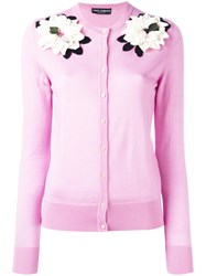 Dolce And Gabbana Flower Applique Cardigan Pink Purple