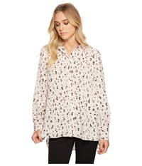 Ellen Tracy Boyfriend Shirt Etched Cheetah Cream Clothing White