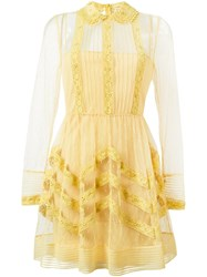 Red Valentino Lace Trim Sheer Tulle Dress Yellow And Orange