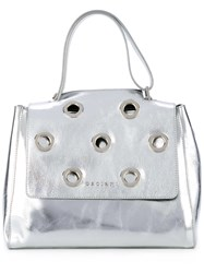 Orciani Small Studded Tote Women Calf Leather Suede One Size Grey