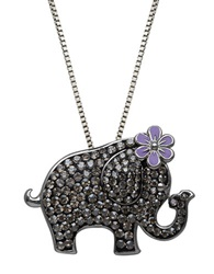 Lord And Taylor Sterling Silver And Crystal Elephant Pendant Necklace Black Silver