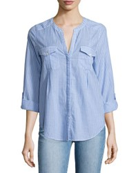 Joie Kalanchoe Striped Poplin Shirt Blue White Blue Pattern
