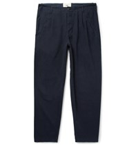Folk Navy Assembly Tapered Pleated Cotton Canvas Trousers Blue