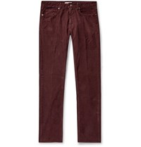 Incotex Slim Fit Stretch Cotton Corduroy Trousers Burgundy