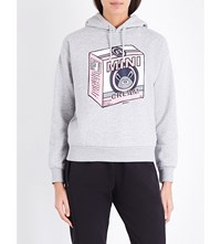 Mini Cream Radio Print Cotton Blend Hoody Grey