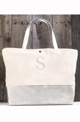 Cathy's Concepts Monogram Canvas Tote Grey Silver S