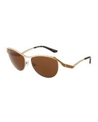 Thierry Mugler Metal Butterfly Sunglasses Gold Brown
