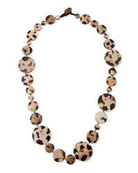 Viktoria Hayman Long Shell Disc Necklace In Leopard 42