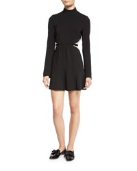 Rachel Zoe Kristi Bicolor Lace Inset Turtleneck Dress Black