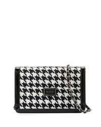 St. John Houndstooth Patent Leather Shoulder Bag Black White