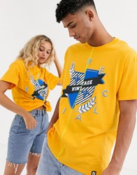 Reclaimed Vintage Unisex Spliced T Shirt With Logo Crest Yellow