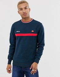 Ellesse Columbus Sweat With Stripe In Navy
