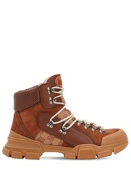 Gucci Flashtrek Suede And Gg Canvas Hiking Boots Brown