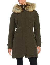 Vince Camuto Faux Fur Trimmed Down Coat Olive Green