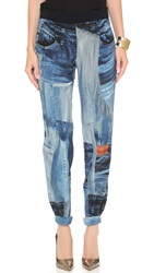 Victoria Beckham Printed Cropped Pants Denim Combo