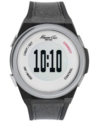 Kenneth Cole New York Men's Digital Connect Black Leather And Silicone Strap Smart Watch 47Mm 10023867
