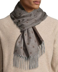Begg And Co Graduated Spot Cashmere Scarf W Fringe Brown