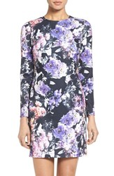 Maia Women's Floral Print Scuba Knit Sheath Dress Blue Purple