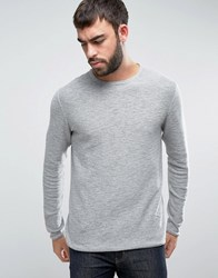 Only And Sons Knitted Jumper With Textured Roll Hem Med Grey