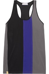Monreal London Color Block Perforated Stretch Jersey Tank Anthracite