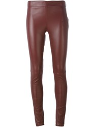 Joseph Skinny Leather Trousers Red