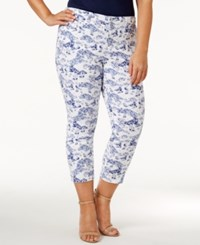 Charter Club Plus Size Bristol Printed Tummy Control Capri Jeans Only At Macy's Sur Blue Combo