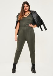 Missguided Plus Size Khaki Jersey Cross Front Jumpsuit