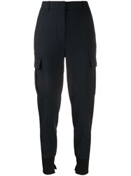 3.1 Phillip Lim Pinstriped Tapered Trousers Blue